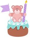 Teddy bear up birthday cake