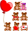 Teddy bear valentine love collection illustration featuring a set of concerning or day isolated on white background eps file is Stock Photos