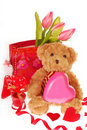 Teddy bear with valentine`s gifts Stock Photo
