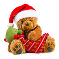 Teddy bear wearing a santa hat Royalty Free Stock Photo