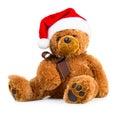 Teddy bear wearing a santa hat Royalty Free Stock Photo