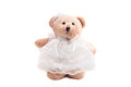 Teddy bear in wedding dress cute isolated white background with clipping path Royalty Free Stock Image
