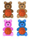 Teddy bears with basketballs these are isolated on a white background Stock Images