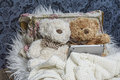 Teddy bears in bed with tablet Royalty Free Stock Image