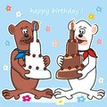 Teddy bears and cake brown bear polar bear with birthday card Royalty Free Stock Images