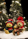Teddy Bears with Gift - vertical Royalty Free Stock Photo