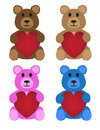 Teddy bears with hearts Fotografia Stock