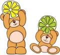 Teddy bears holding citrus fruit slices