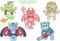 Teddy bears monsters set