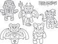 Teddy bears monsters set of drawings Royalty Free Stock Photo