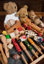 Teddy bears and old toys Stock Images