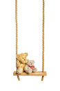 Teddy bears on rope swing isolated on a white background Royalty Free Stock Photo