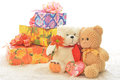 Teddy bears two with flower and gifts Royalty Free Stock Photography