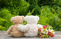 Teddy bears two with flowers Stock Photo