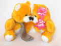 Teddy bears valentines day card stock photos romantic couple of kissing Stock Photos