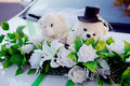 Teddy bears wedding car decorated with Stock Photo