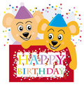 Teddy bears wishing a happy birthday Royalty Free Stock Photo