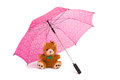 Teddy beear under umbrella a toy bear big pink Royalty Free Stock Photography