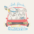 Teddy and bunny driving adventure, print design for kids apparel