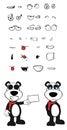 Teddy panda bear cartoon emotions set card Royalty Free Stock Photo