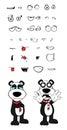 Teddy panda bear cartoon emotions set crying Royalty Free Stock Photo