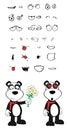 Teddy panda bear cartoon emotions set inlove Royalty Free Stock Photo