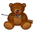 Teddy panda rifle Royalty Free Stock Photo