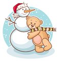 Teddy and snowman Royalty Free Stock Images