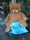 Teddybear outside with dirtybag a in the street for waiting on the container for dirty bags Stock Photography