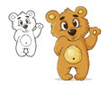 Teddybear vector color bear waving paw Stock Photos