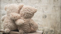 Teddybears embracing each other picture taken from behind Stock Image