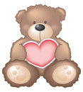 Teddybeer met Hart Stock Afbeeldingen