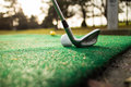 Tee off at pitch and putt Royalty Free Stock Photo