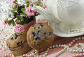 Tee-Party mit Blaubeere-Muffins Lizenzfreie Stockfotos
