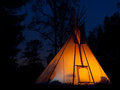 Tee pee fire night Stock Photography
