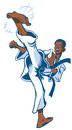 Teen african boy martial artist executing a kick vector cartoon of spinning back Stock Images