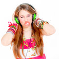 Teen blowing gum listening music Royalty Free Stock Image