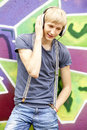 Teen boy with headphones Royalty Free Stock Photos