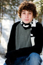 Teen boy outdoors in winter Royalty Free Stock Photos