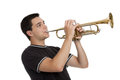 Teen Boy Playing Trumpet Royalty Free Stock Photo