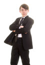 Teen boy in suit with serious pose Royalty Free Stock Photo