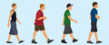 Teen boys walking teenage in a line Stock Images