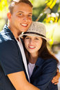 Teen couple hugging portrait of beautiful young outdoors Stock Image