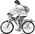 Teen on a cycle vector image of young man riding bicycle Royalty Free Stock Images