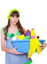 Teen with detergents Royalty Free Stock Image