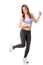 Teen doing dance fitness white background Stock Image