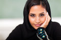 Teen female muslim high school student closeup portrait classroom Royalty Free Stock Images