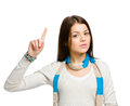 Teen with forefinger gesture wearing colored scarf isolated on white Stock Photography