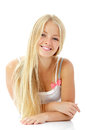 Teen girl beautiful cheerful enjoying isolated on white blond background Royalty Free Stock Image