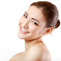 Teen girl beauty face happy smiling and looking at camera isolated on white background Stock Photography